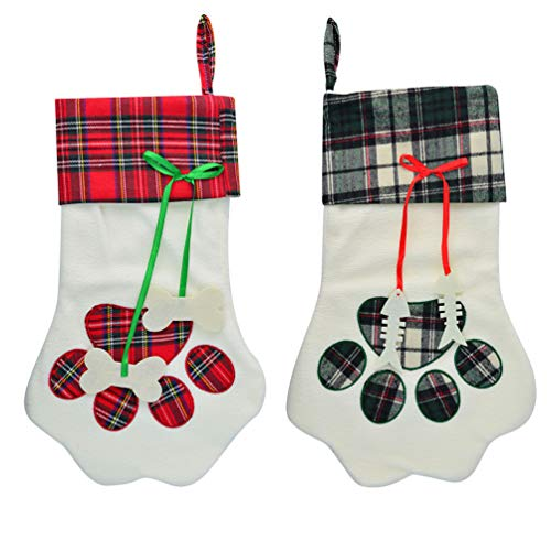 Yolyoo 2pcs Dog Paw Christmas Stocking,17.2'' Large Christmas Stockings The Dog Feet Shape Pattern Holiday Hanging Stocking Decoration