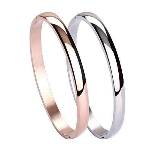 - MILAKOO Womens Mens Stainless Steel Brecelet Plain Polished Finish Cuff Bangle 6mm Wide