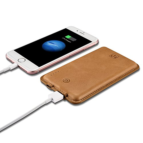 8000mAh Cell Phone Power Bank Portable USB Charger, Icarercase Universal Compact Genuine Leather Surface Leather External Battery for iPhone, iPad, Android and Other Smart Devices(Brown) by icarercase