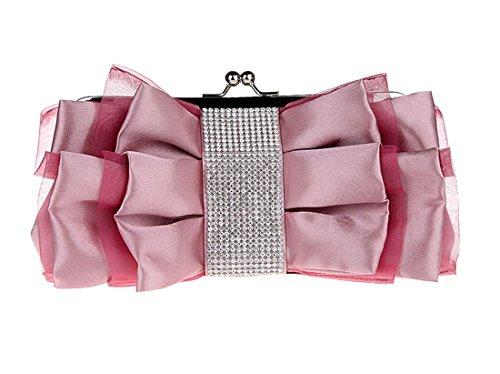 clutch bow en main mode Sac à pour Diamant Femme de enveloppe élégant Magenta Fleurs soie Luckywe 0Cgqaw