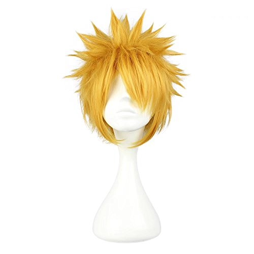COSPLAZA Cosplay Wig Short Spiky Gold Anime Show Party Full Hair -