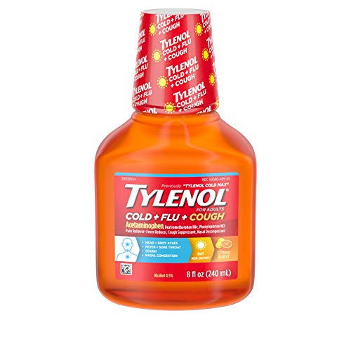 Tylenol Cold + Flu + Cough, Cold Medicine, Liquid Daytime Flu Relief, 8 fl. oz