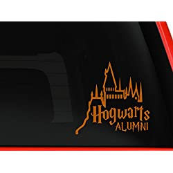 "Hogwarts Alumni Castle - 6"" Car Truck Vinyl Decal Art Wall Sticker - Harry Potter Movies Books (orange)"