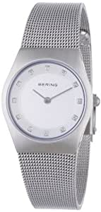 Bering Classic - Reloj analógico de mujer de cuarzo con correa de acero inoxidable plateada - sumergible a 50 metros