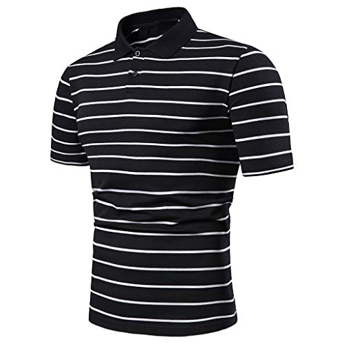 Price comparison product image MOSERIAN Men's Striped Casual Slim Fit Shirts Short Sleeve Stand Collar Shirt Top Blouse Black