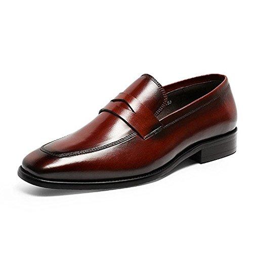 Scarpe Stringate da Uomo Scarpe di Cuoio Affari Classico Scarpe Pigre Comodo Traspirante Redwine