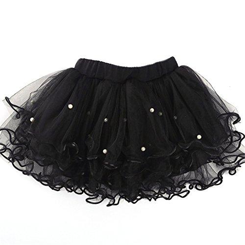 [JiaDuo Baby Girls Princess Dance Beaded Tutu Skirt Soft Layered Mesh Black XXL] (Black Halloween Skirt)