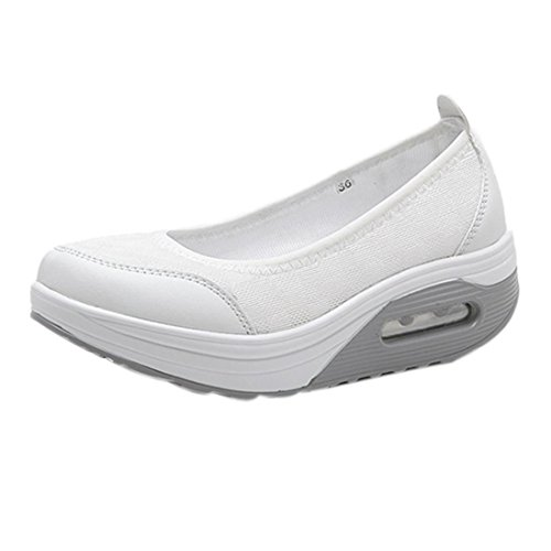 (G&Kshop Shockproof Sports Shoes,Women Slip-On Walking Shoes Breathable Sports Sneakers (5.5B(M) US, White))