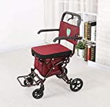 GJX Old Man Shopping Cart, Leisure Walker, Folding Hand Push Wheelchair, Wine Red