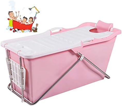 折りたたみバスタブ GYF 折り畳み式バスタブ ポータブル大人用バスタブ プラスチックカバーホーム全身 子供用入浴バケツ 厚くなった大人の浴槽 大人ベビー用 バスタブ124x59x57cm (Color : Pink)