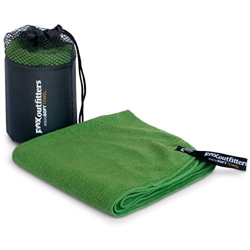 Fox Outfitters MicroSoft Towel - Ultra Compact Soft Dry Microfiber Camping & Travel Towel with Hang Loop Snap. Lightweight & Great for Backpacking, Hiking, Sports. (Green - Extra Small)