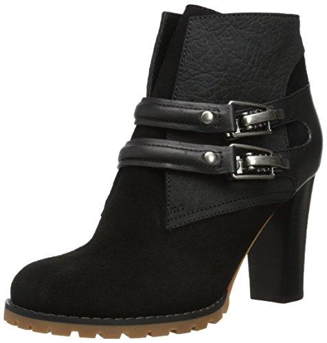 See By Chloe Women's Double Buckles Stacked Heel Boot,Black/Black,39.5 EU/9.5 M US