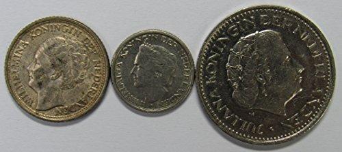 NL 1944, 1948 & 1971 Netherlands 25 & 10 Cents & 1 Gudlen Coins VF-XF