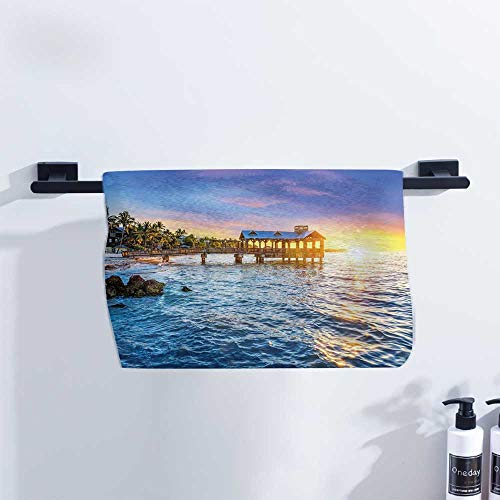 United States Athletic Towel Pier at Beach in Key West Florida USA Tropical Summer Paradise Quick Drying and Highly Absorbent W27 x L12 Light Blue Yellow Green (Best Pizza In Key West)
