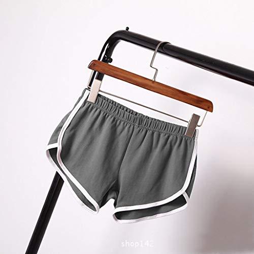 NOMENI Women Summer Sports Shorts Running Yoga Workout Waistband Skinny Shorts Hot Pants with Stripe Gray