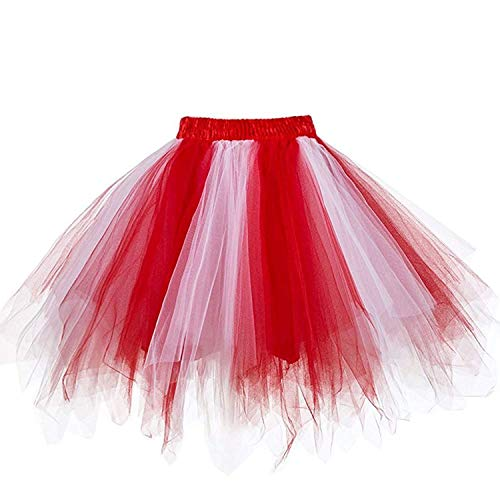 Womens Red White Puffy Tutu Layered Tulle Petticoat Skirt for Party