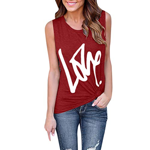 Gopeak Cute Tops for Women Fashion Sleeveless Scoop Neck Letter Love Printed Casual Vest Loose Tunics Tank Tops T-Shirt -