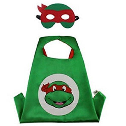 Superhero CAPE & MASK SET Kids Childrens Halloween Costume TMNT Raphael Turtle -