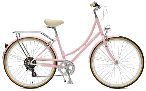Retrospec Venus Step-Thru Frame Hybrid City Commuter Bike, 38cm-Small/Medium, Millenial Pink, 7-Speed