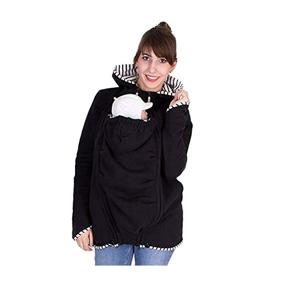 Bold N Elegant Winter Warm Baby Carrier Wrap Kangaroo Style Stylish Winter Jacket Hoodie Jersey for Mom and Cozy Baby Carrying Detachable Pouch (Black, L)