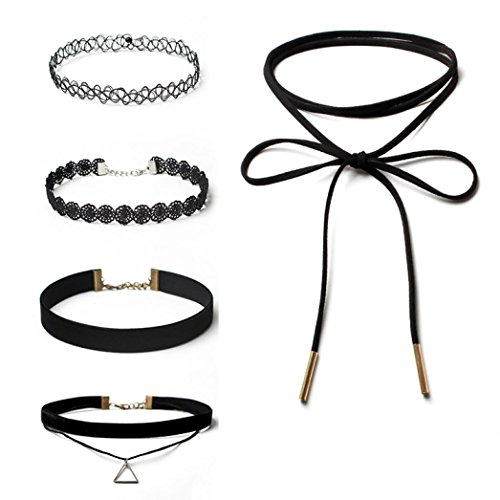 - Gotd 5 Pieces Choker Necklace Set Stretch Velvet Classic Gothic Tattoo Lace Choker (Black)