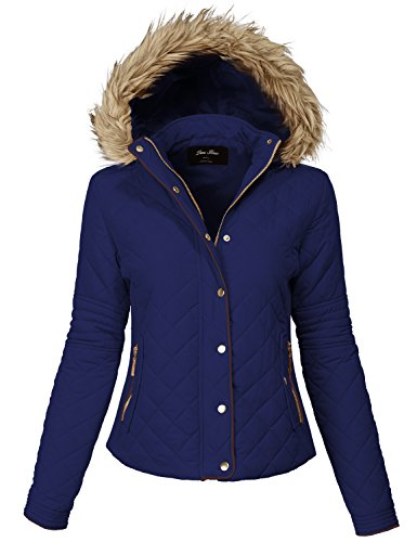 Comfortable Fur Trim Hood Quilted Padding Jackets 140-dark Navy Large