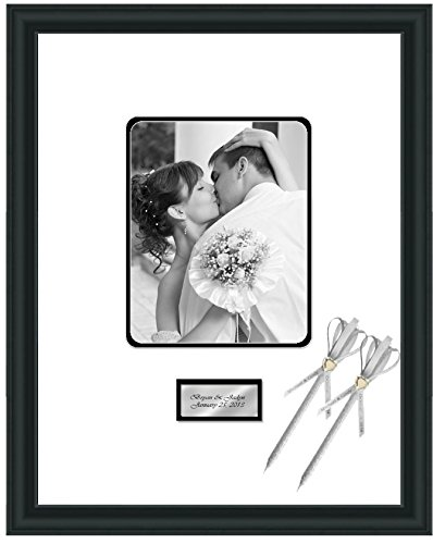 Engraved Wedding Signature Frame 16x20 Photo Matted Frames Retirement Anniversary Weddings Guest Book Baby Shower 8x10 Photo Satin Matte Black Wood Black Matted