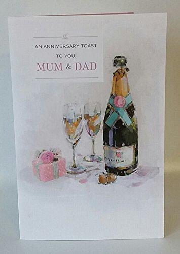 (A Toast Mum & Dad Wedding Anniversary Traditional New Congratulations Card)
