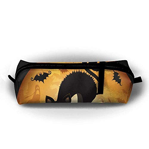 Durable Zipper Stationery Bag Halloween Cat Kid's Big Capacity Pencil Case