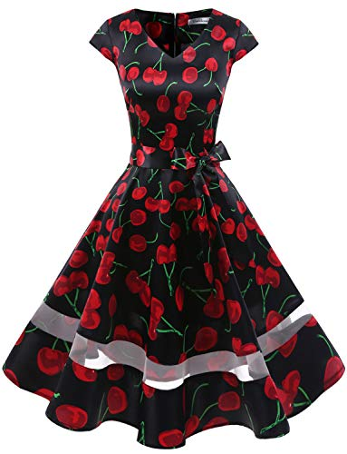 Gardenwed Women's 1950s Rockabilly Cocktail Party Dress Retro Vintage Swing Dress Cap-Sleeve V Neck Black Cherry M