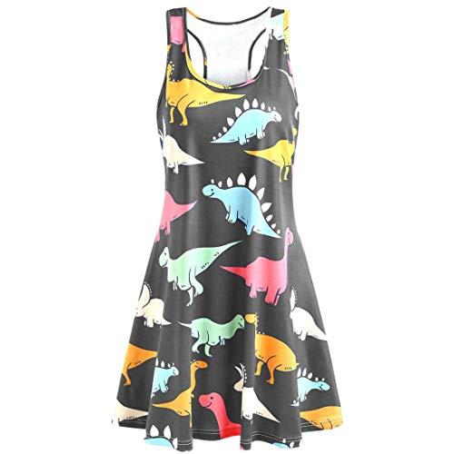 Alimao 2019 Dress Women Sleeveless Ladies Beach Dress Fashion PrintedTunic Tank Dress Grey