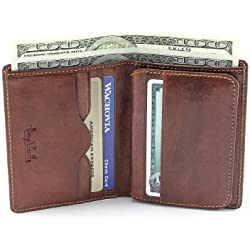 Tony Perotti Italian Bull Leather Express Front Pocket Vertical Trifold Credit Card Wallet with ID Window, Cognac