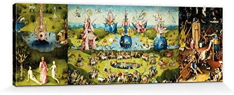 1art1 El Bosco - El Jardín De Las Delicias, 1500 Cuadro, Lienzo Montado sobre Bastidor (120 x 40cm): Amazon.es: Hogar