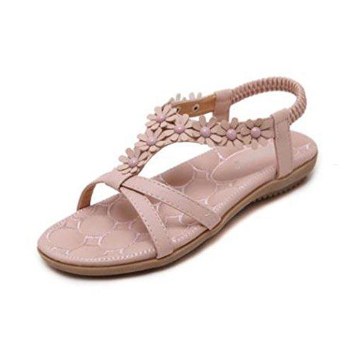 Mujer Sandalias GUOCU Bohemia de del de Verano Zapatos Elegante Mujeres de Estilo Rosado del Nuevas Playa Para dfwfnrS8