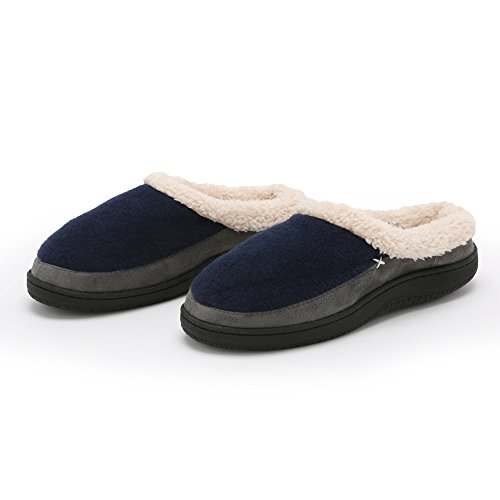 Pembrook Men's Slippers – Comfortable Memory Foam + Wool. Indoor and Outdoor Non-Skid Sole - Great Plush Slip On House Shoes for adults, Men, Boys