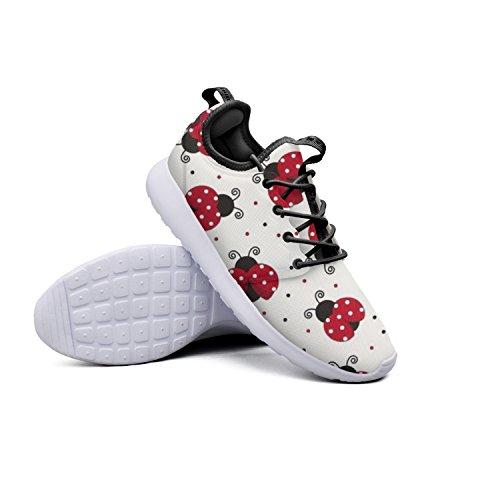 Ladybug Pattern Women's Hunting Sneakers Lightweight Mesh Running Shoes