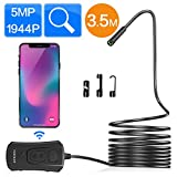 Wireless Endoscope, 5.0MP WiFi Borescope Waterproof IP67 Inspection Camera 1944P HD Snake Semi-Rigid Flexible Endoscope for Android and iPhone iOS Smartphone Tablet(11.5ft/3.5m)