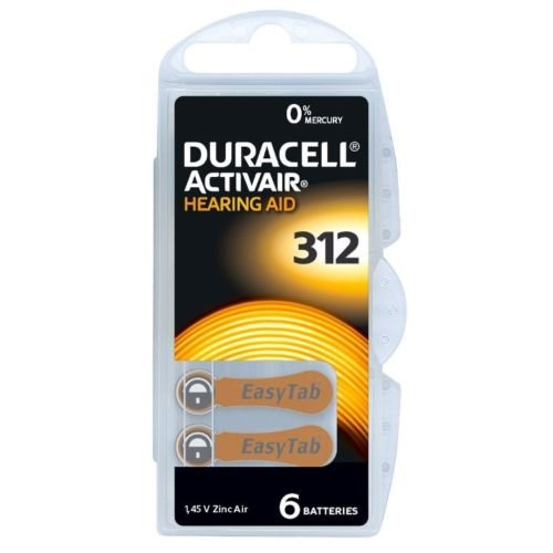 Duracell DC 312Activair Hearing Aid Batteries Type 312 - 10 x Pack of 6
