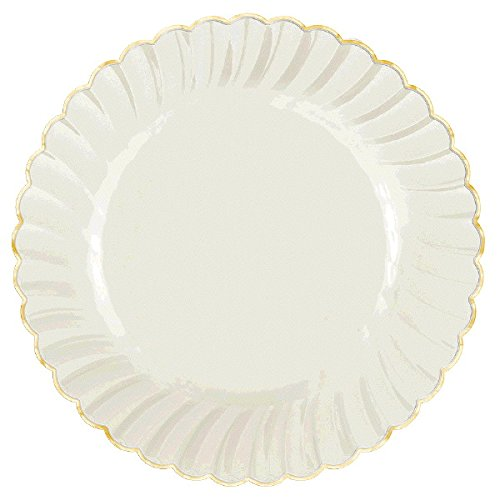 Amscan Reusable White with Gold Swirl Border Round Plates Premium Plastic 7'' Pack Party Supplies (120 Piece), 7 1/2'' 20 Ct
