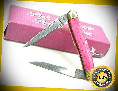 Pink Smooth Bone Mini Muskrat 2 Blade Folding Pocket Sharp Knife 841 perfect for outdoor camping hunting