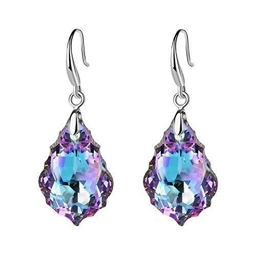 EVEVIC Swarovski Crystal Baroque Teardrop Dangle Hook Earrings for Women Girls 14K Gold Plated Jewelry (Vitrail Light) ()