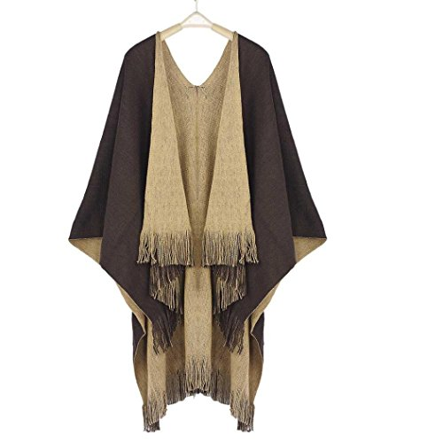 Cardigans Sweater Coat,Han Shi Women Fashion Winter Knitted Cashmere Poncho Capes Shawl Scarf (Coffee, L)
