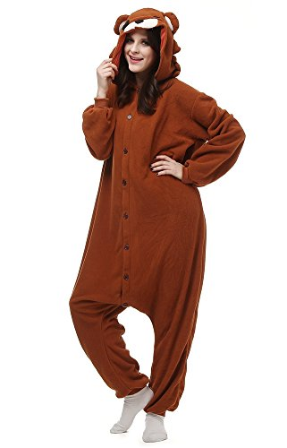 Women/Men Onesie Adult Animal Pajamas Pyjama Brown Bear Cosplay for Halloween -