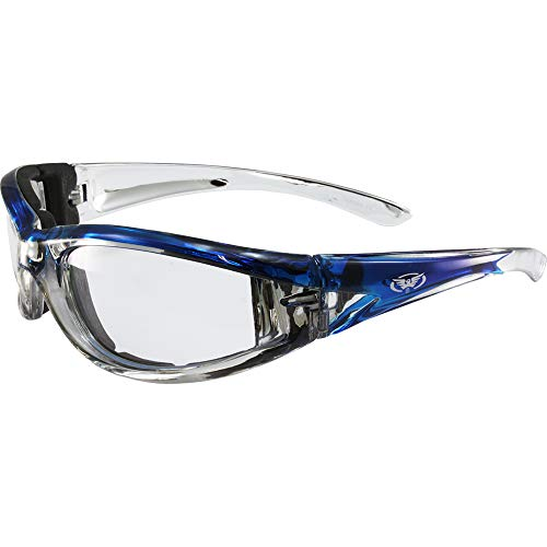 Global Vision Flashpoint Padded Motorcycle Sunglasses Chrome and Blue Crystal Frames Clear Flash Point Lens