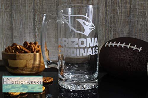 - Arizona Cardinals Jumbo 28.5oz Hand Etched Glass Beer Mug