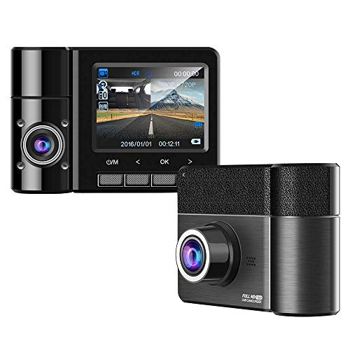 Emmabin Dual Car Dash Cam 2.3' TFT HD 1080P 170°Degree Wide Angle Dashboard Camera Recorder with G-Sensor,WDR,Loop Recording,Super Night Vision Front and Rear Car Dash Camera