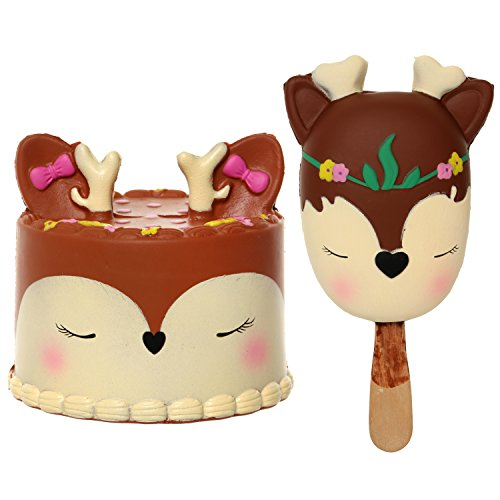 FUAYGE Kawaii Sika Deer Cake with Deer Animal Popsicle Jumbo Squishy for Kids and Adults Toy Gift