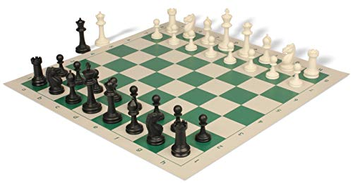 Master Series Weighted Plastic Chess Set Black & Ivory Pieces with Green Roll-up Chess Board