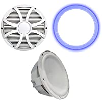 Wet Sounds Revo 10 Subwoofer, Grill, RGB LED Ring - White Subwoofer & White Closed Face SW Grill - 4 Ohm