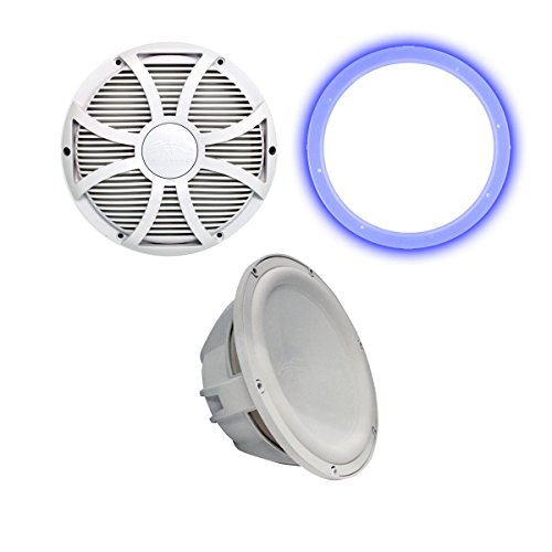 "Wet Sounds Revo 10"" Subwoofer, Grill, RGB LED Ring - White Subwoofer & White Closed Face SW Grill - 4 Ohm"